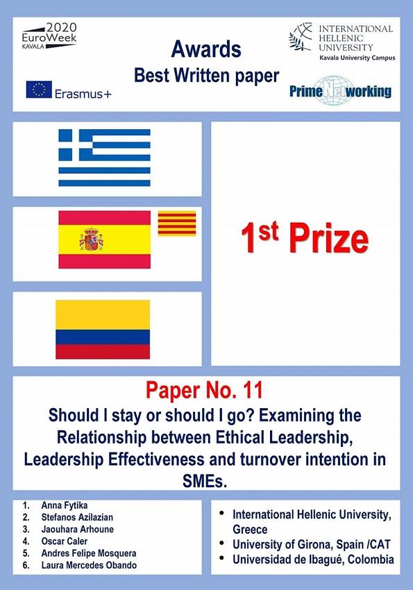 Imagen Paper EuroWeek - premiación 2020